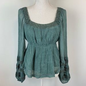 🌺 Free People Teal Lace Distressed Blouse